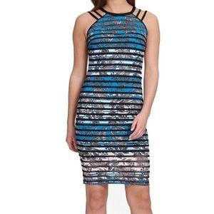 GUESS Sheath Printed Mesh Stripe Dress Blue Sz 4